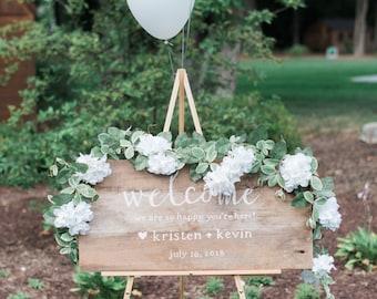 Custom Hand Lettering Barnwood Wedding Sign