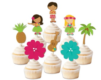 Luau cupcake toppers, luau party decor, luau party toppers, Hawaii party, luau decorations, summer party, pool party