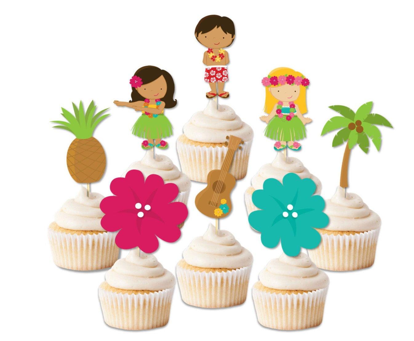 luau cupcake toppers luau party decor luau party toppers hawaii party luau - Luau Decorations