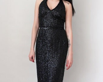 Vintage Va Va Voom Sequin Halter Dress - Marilyn Monroe Wiggle Dress - Cocktail Party Dress - Size Extra Small