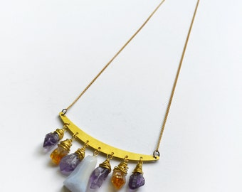 Crystal Drop Necklace, Raw Crystal Necklace, Amethyst Crystal, Citrine Necklace, Brass yoke Wire wrapped Handmade
