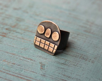 Bronze Calavera ring #8