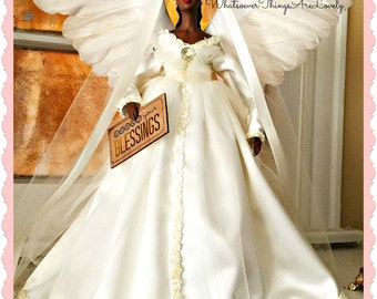 Angel Tree Topper, Black Angel MANTLE Sized, AFRICAN AMERICAN Christmas Angel Treetop, Ivory Holiday Mantle Decoration,