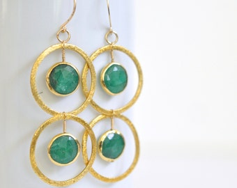 Genuine Emerald Earrings- Gold Vermeil Emerald Earrings- Gold Filled Earrings- Natural Emerald Circle Earrings- Green Gemstone Statement