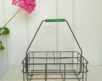 Vintage Wire Milk Bottle Carrier with Green Handle Galvanized Metal Wire 4 Bottle Carrier also holds canning jars