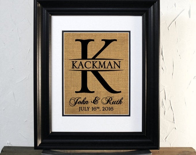 Burlap Initials custom name. Lovely Gift for Wedding or Anniversary. Marriage Date. Unframed.