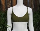 Seamless Cross Back Khaki Bikini Top