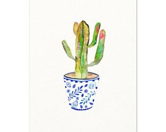 Cactus Watercolor Art Print. Southwestern Wall Art. Desert Cactus Painting. Blue & White Pot with Cactus Wall Art. Desert Gypsy Boho Art.