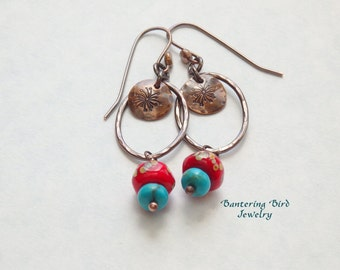 Southwestern Earrings, Genuine Turquoise and Coral Lampwork on Oval Hoops, Hammered Copper Jewelry, Chili Pepper Red Glass Bead Dangle