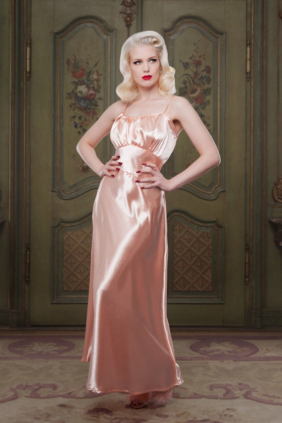 Vintage Inspired Nightgowns, Robes, Pajamas, Baby Dolls Peach Bettie Stretch Satin Full Length Nightgown 1930s inspired vintage style perfect for any pinup girl  AT vintagedancer.com