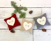 Valentine Pillow, Heart Pillow, Personalized Pillow, Rustic Heart, Wedding Gift, Anniversary Gift, Rustic Home Decor, 4x4 Pillow