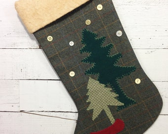 Personalized Christmas Stocking, Large Stocking, Rustic Christmas Stocking, Cabin Stocking, Cabin Christmas Stocking, Canoe Decor