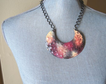 Hand Painted Sherbet Galaxy Brass Crescent Necklace/Statement Necklace/byZULLIdesigns/Womens Jewelry/Valentines Day Gifts/gifts for her