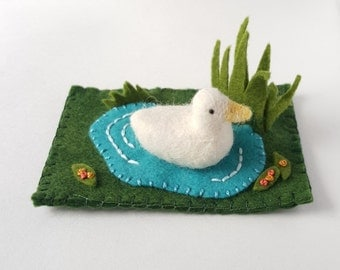Needle Felted White Duck Swimming in a Pond