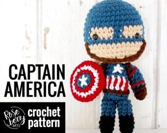 Captain America Crochet Pattern - Civil War - Inspired - Instant Download - Amigurumi Plush Doll CROCHET PATTERN ONLY