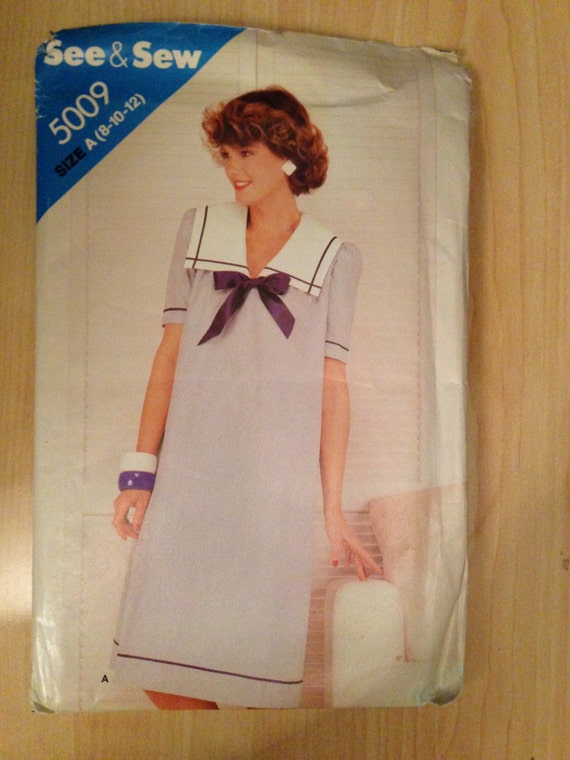 Vintage 80s Butterick 5009 See and Sew Sewing Pattern Misses Nautical Dress Uncut Size 8-12