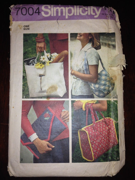 Simplicity Sewing Pattern 7004 70s Misses Set of Handbags, Clutch, Purse