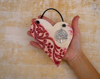 Tree of Life Heart Wall Hanging, Handmade Pink Pottery Heart Plaque With Silver Tree of Life Wall Decor, Gift for a Friend, Ready to Ship.