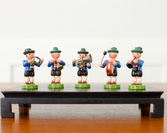 Vintage Hand Painted Wooden Boys Playing Musical Instruments Toy Figurines