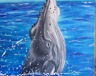 Original 9x12 Humpback Whale oil painting