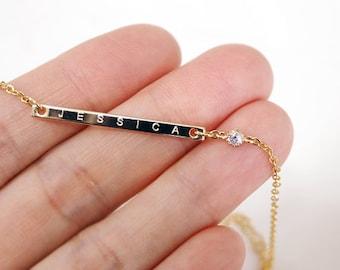 Bridesmaid gifts - Set of 5, 6, 7, 8 -Personalized Bar bracelet, Gold bar bracelet, Custom Name Bracelet, Nameplate Monogram Bracelet