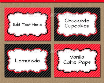 Editable Red Black Fancy Food Labels, Printable Buffet Cards, Tent Cards, Candy Buffet Labels, Food Tags - Instant Download Place Cards