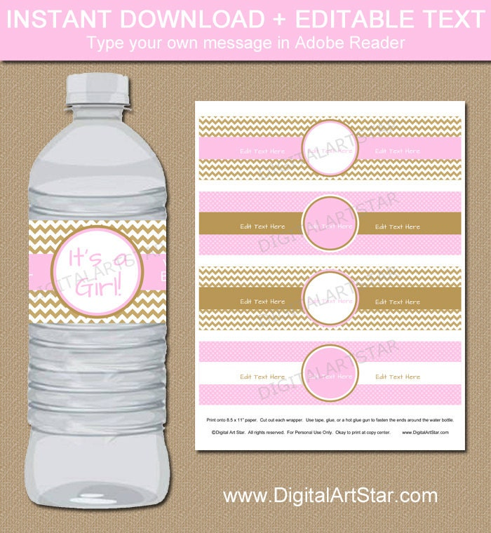 pink gold baby shower water bottle labels editable