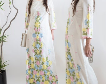 1960s Vintage Embroidery Filipino Floral Island Tunic Maxi Dress. Small