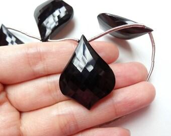 Black Agate Onyx Large Fancy Faceted Shield Drop Briolette One Bead N3332