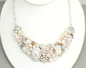 Blush Bridal Necklace- Pale Pink Necklace- Pearl and Rhinestone Necklace - Blush Wedding Necklace- Pink Statement Necklace- Blush bridal bib
