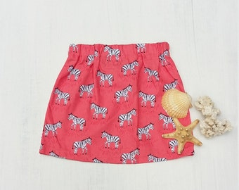 Girls Zebra Skirt / 3t Cotton / Hipster Baby Clothes / Coral Pink Short Skirt / Zoo Mini Skirt / birthday party outfit / boutique clothes