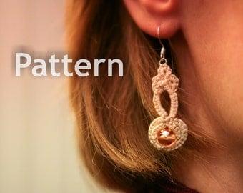 Pattern - Needle Tatting - Tatted Beaded Pendant Earring PDF Pattern by RustiKate