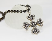 Large Silver Cross Necklace | Unisex Necklace | Gunmetal Chain