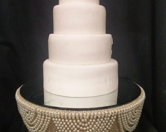 Drape design wedding cake stand  Ivory Pearl and gold crystals  - round or square all sizes