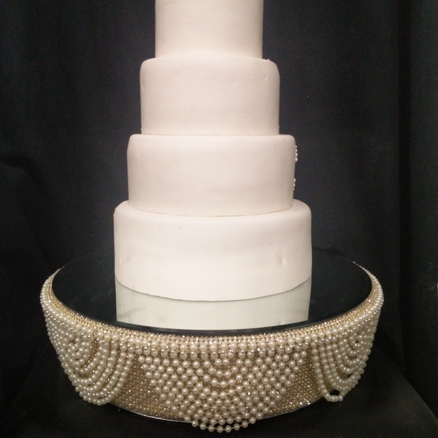 bling wedding cake stand with pearls drape design wedding cake stand ivory pearl and gold crystals 11935