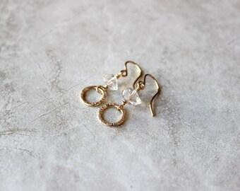 Herkimer Diamond + Circle Earrings, Small Hoop Earrings, 14kt Gold Fill Earrings