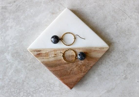 Labradorite Hoop Earrings, Brass Hoops, Genuine Stone Earrings