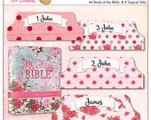 Sale! Pink Creative Rose Bible Tabs for Bible Journalling /  66 Books of the Bible Tabs and BONUS 18 Top Character Tabs & 28 blank tabs