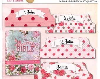 Pink Printable Creative Rose Bible Tabs for Bible Journalling /  66 Books of the Bible Tabs and BONUS 18 Top Character Tabs & 28 blank tabs