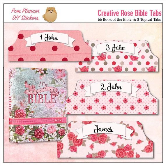 Pink Creative Rose Bible Tabs for Bible Journalling / 66 Books of the Bible side Tabs and BONUS 18 Top Character Tabs & 28 blank tabs