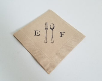 Vintage Fork and Spoon Personalized Wedding Napkins in Light Burlap Paper Wedding Cocktail Napkins with Couples Initials- Set of 50
