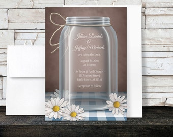 Beach wedding invitations message from a bottle theme for Mason jar beach wedding invitations
