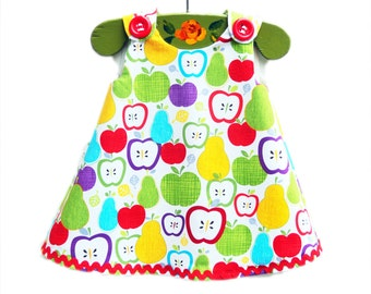 Apples - Baby Spring Dress -  Newborn - Rainbow Apple Aline Dress - Children Clothing - Baby Outfit - Etsy Baby - Girls Clothing Pattern