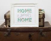 Home Sweet Home wall art - New home gift -  Framed appliqué art - Home sweet home sign - Appliqué art - Textile art - Liberty fabric art