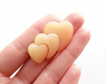 Vintage Peach Hearts Pin