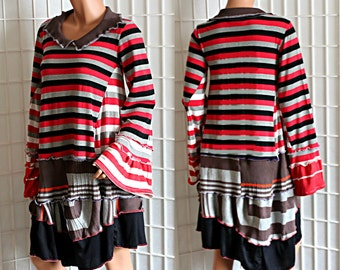 Upcycled Tunic Top Striped Black Red White Grey  Funky Bell Flared Sleeves Recycled Clothing Size XS / Small