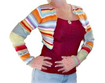 Bolero Shrug, Rainbow Shrug, Upcycled Shrug, Sweater Shrug, Long Sleeve Shrug, Patchwork Shrug, Handmade Shrug, Ballet Shrug, Sweaterlove