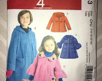PIF CUT to Largest Size (14) Child / Tween McCall's Coat n Jacket Pattern no. M5743 - 2 Lengths with Collar or Hood - Size 7 8 10 12 14