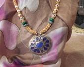 Kuchi handmade pendant with gold beads sweet heart necklace  FREE SHIPPING USA