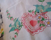 Lovely  RESERVED for CAROL RUNYAN ... vintage handpainted cotton table runner pretty bluebirds with heart